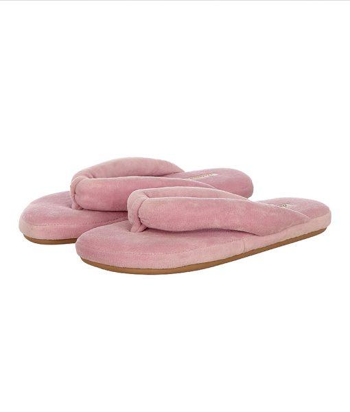 chinelo de dedo em plush rosa fada