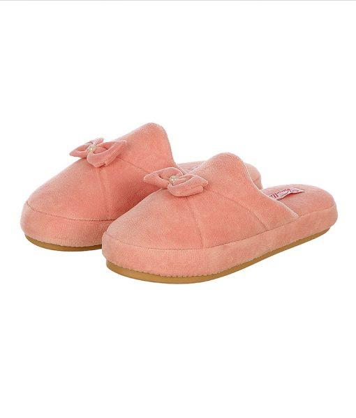 chinelo plush lacinho com perola rose