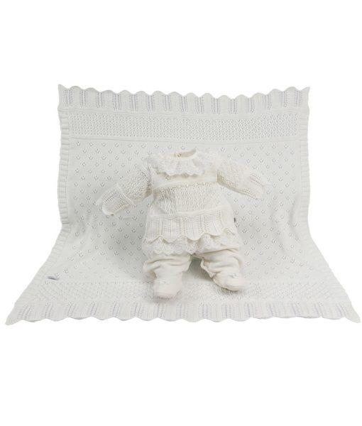 kit maternidade tricot manta e macacao bella off white