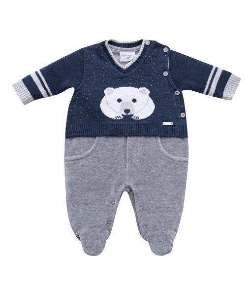 macacão plush e tricot com jacquard urso polar