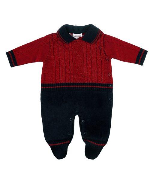 macacao tricot aran links marinho e vermelho