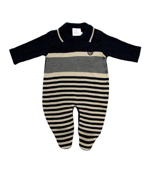 macacão tricot com listras diferenciadas