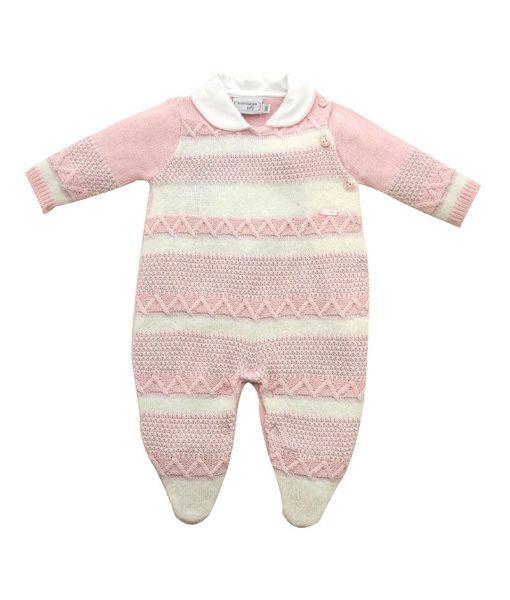 macacão tricot listrado com fio lurex