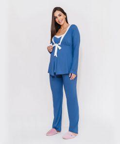 pijama 3 peças com detalhe de cetim azul
