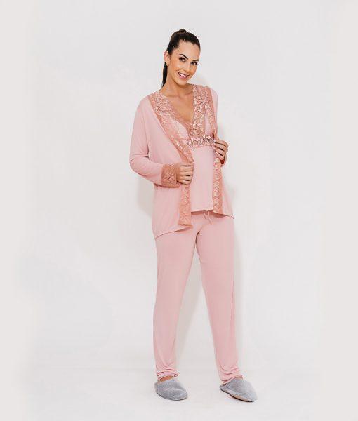 pijama 3 peças liganet com renda rose