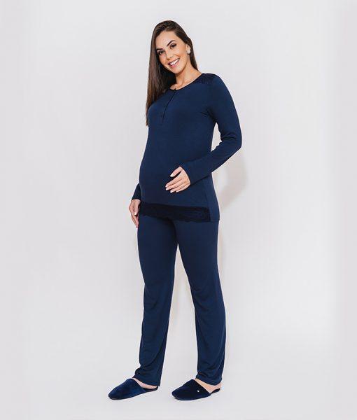 pijama com abertura amamentação e renda azul marinho
