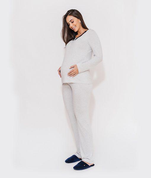 pijama com renda no decote e abertura amamentacao mescla claro