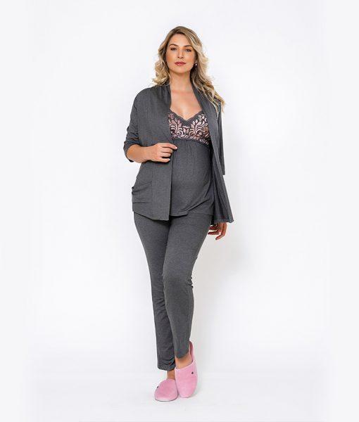 pijama 3 peças renda bicolor rose