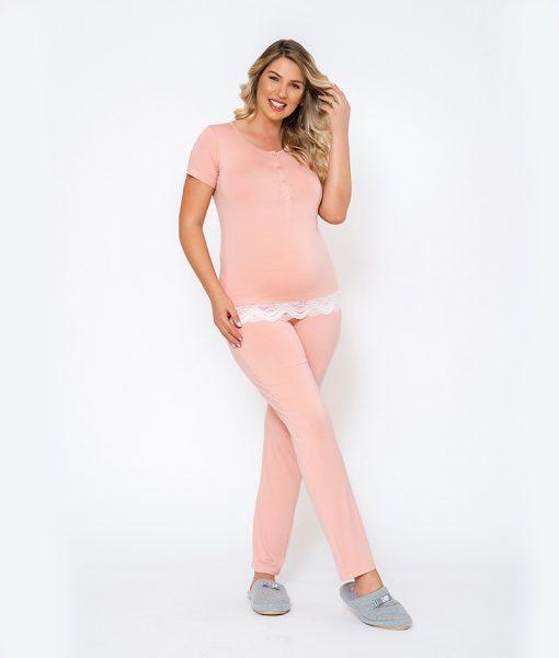 pijama rose com renda na barra