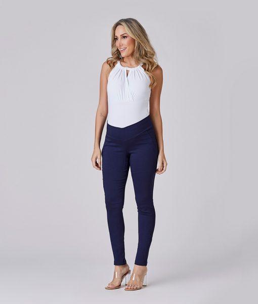 calça alfaiataria elastic azul marinho