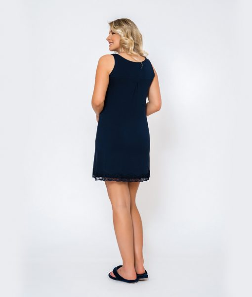 Conjunto Camisola Regata com Renda e robe Camisola Costas