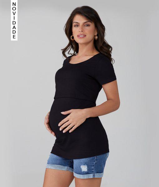Blusa Amamentação com cropped preto