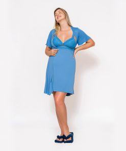 Conjunto Camisola e Robe com Renda Azul