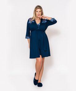 Conjunto Camisola e robe com renda bicolor