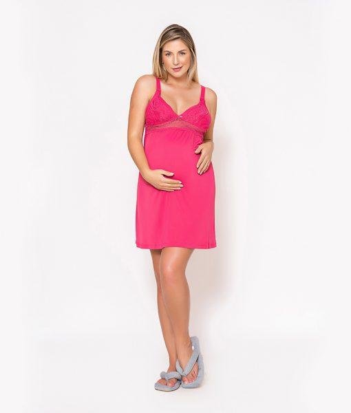 Conjunto Camisola e Robe com Renda Pink Camisola