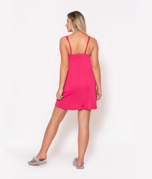 Conjunto Camisola e Robe com Renda Pink Camisola Costas
