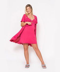 Conjunto camisola e robe com renda pink