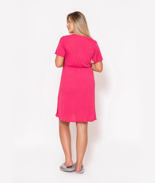 Conjunto Camisola e Robe com Renda Pink Costas