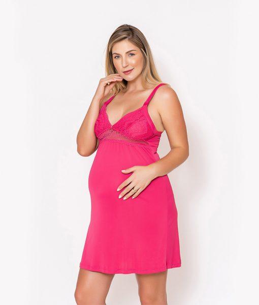 Conjunto Camisola e Robe com Renda Pink Foco