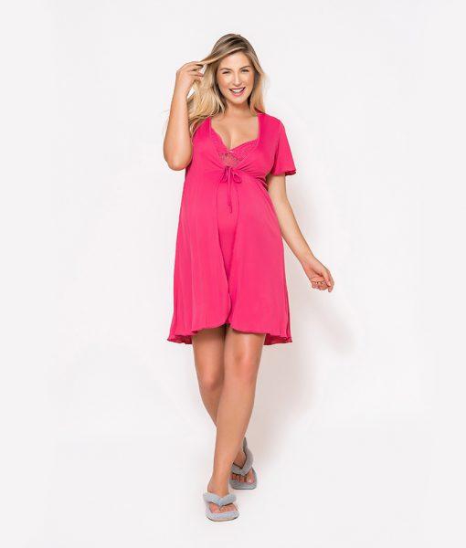 Conjunto Camisola e Robe com renda Pink Frente