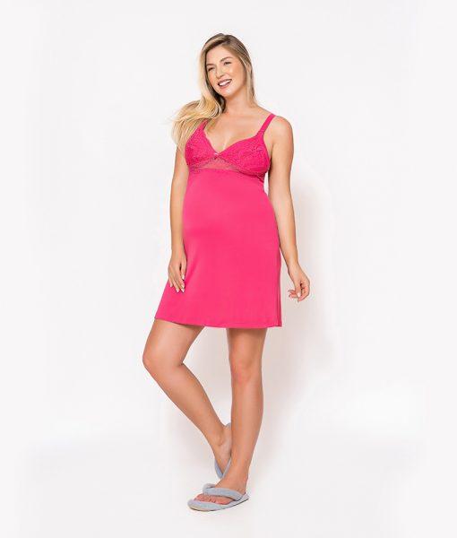 Conjunto Camisola e Robe com Renda Pink Perfil