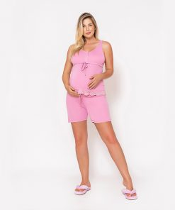 Pijama Regata com Renda e Shorts Rosa