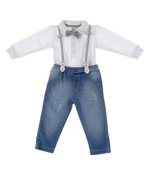 Conjunto Calça Jeans e body com gravata