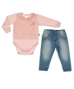 Conjunto Calça Jeans e body Rosa