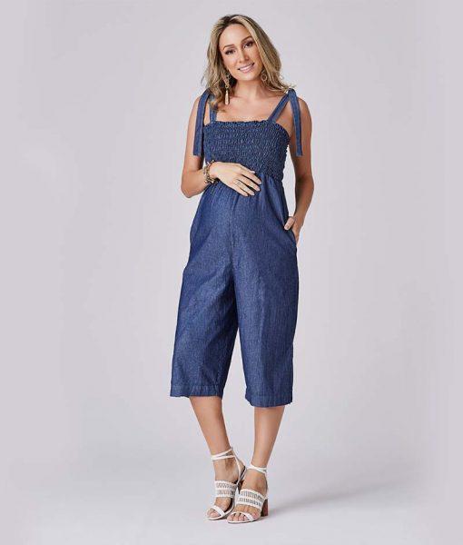 Macacão Jeans Gestante Fashion
