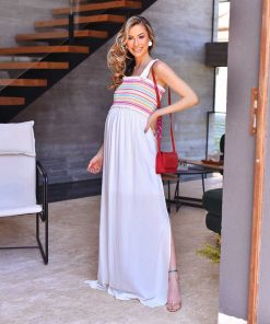 Vestido Longo Off White com Bordado