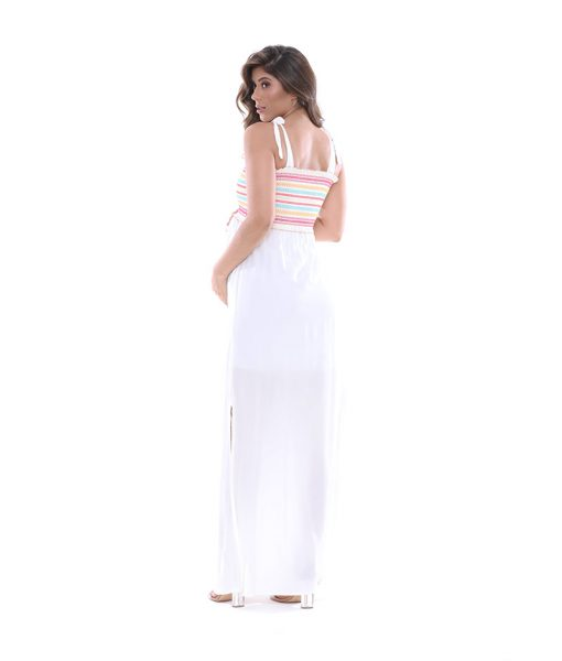 Vestido Longo Off White com bordado costas Lookbook