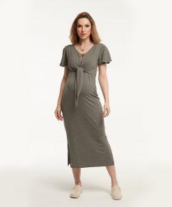 Vestido Midi Zíper e Amarração Mescla