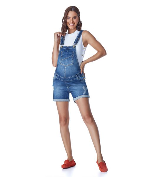 Macaquinho Jeans Classic com Ajuste