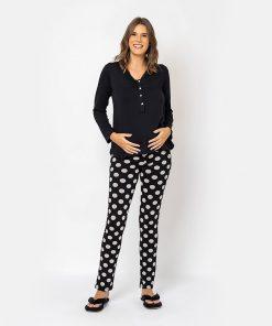 Pijama com Renda e Calça Poá