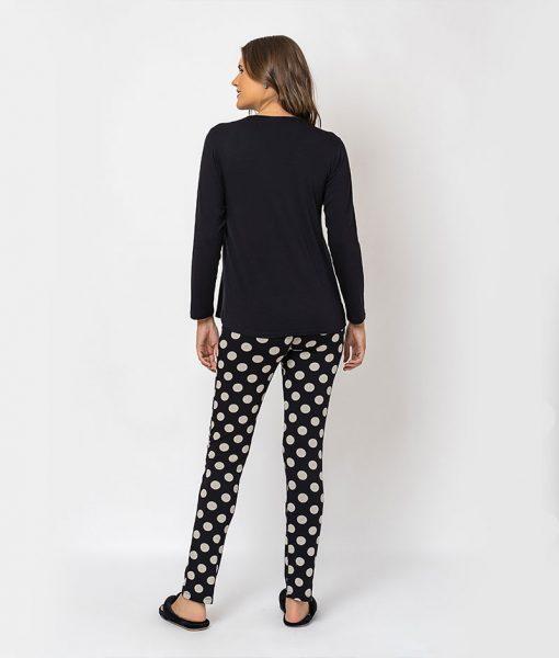 Pijama com Renda e Calça Poá Costas