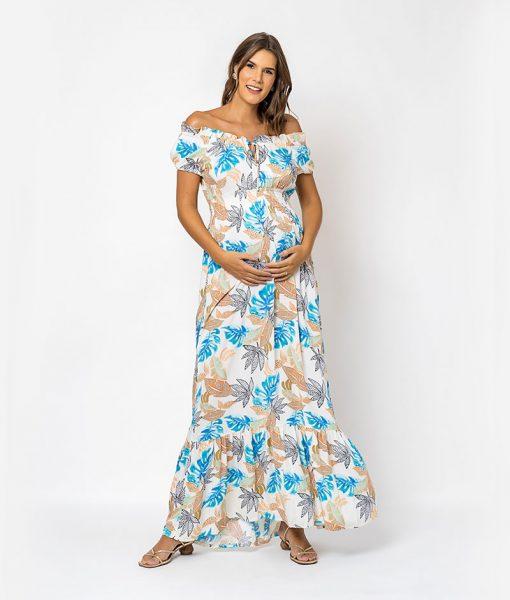 Vestido Longo Viscose floral