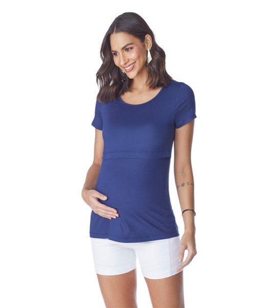 Blusa com Cropped Amamentação Azul Marinho