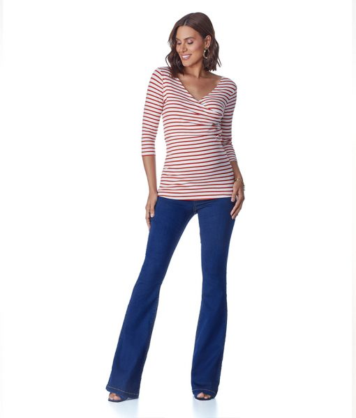 Calça Jeans Gestante Flare Light Escura