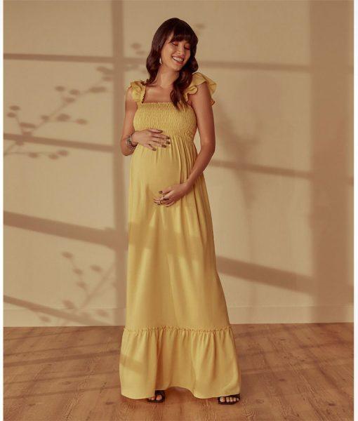 Vestido Longo Lastex Detalhe na Alça Amarelo