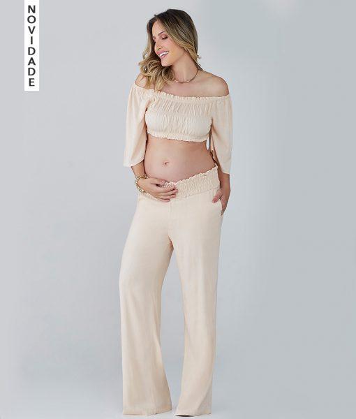 Calça Gestante Pantalona Cos Lastex Areia