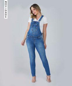 Macacão Gestante Jeans Skinny