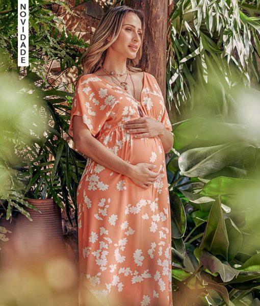 Vestido Estampado Floral Peach