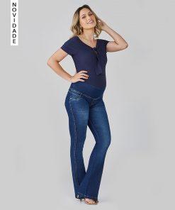 Calça Jeans Gestante Flare
