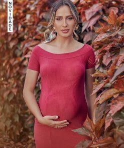 Vestido Midi Canelado Elastic Pink