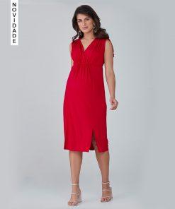 Vestido Midi com Franzido Vermelho